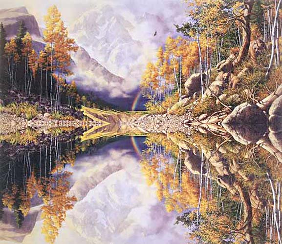Bev Doolittle - Wilderness! Wilderness! print of lake reflecting mountains, trees, and rainbow