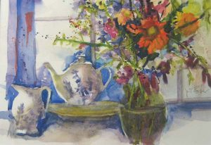Pat Foster - watercolor painting on paper of a floral still life with a tea set near a window