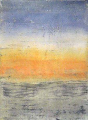 Bernard Weston Natural Sunset Fresco Painting of Orange Sky with Blue and White Clouds over Stone or Sand