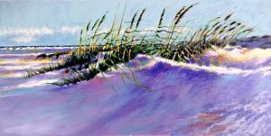 Aldo Luongo - Windy Beach print of sea grass and dunes with ocean in background