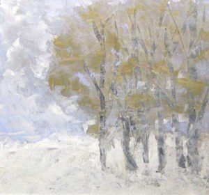 Leah Mitchell Contemporary Painting of Winter Woods with White Snow and Birches in a Forest with Blue Sky