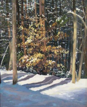 Barbara Levine - Winter Leaves - Painting of a tree on a winter road