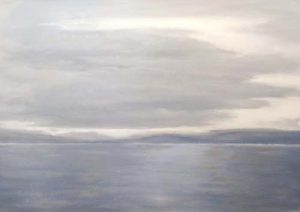 Tom Keenan Contemporary Oil Painting on Canvas of Ocean Sea Horizon in Blue White Gray
