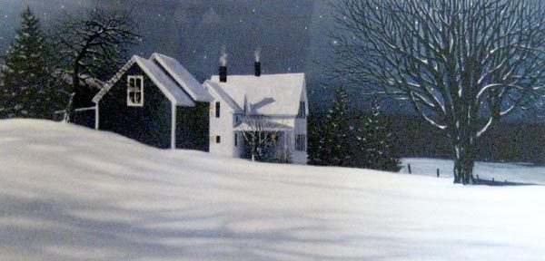 Carol Collette Etching of Winter Farm House with Starry Sky and Snow
