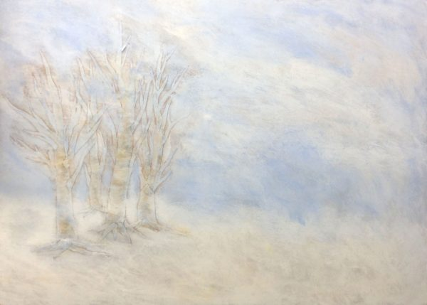Leah Mitchell Painting of trees in winter
