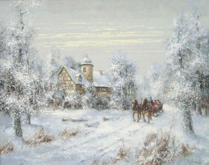 Willi Bauer traditional winter landscape painting of a sleigh ridge in the snow