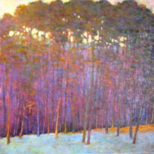 Ken Elliott Contemporary Oil Painting of Aspen Trees in Colorado with Purple Mountains and Blue Orange and Green