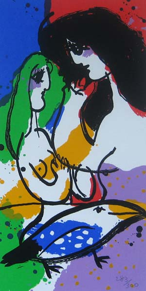 Michael Leu - With Beautiful Bird (14x7 lithograph on paper)