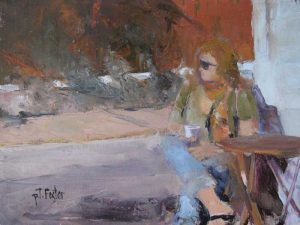 Pat Foster Contemporary Figurative Oil Painting of Woman With Red Hair and Sunglasses at Cafe