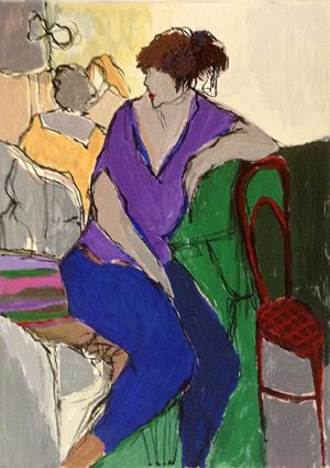 Itzchak Tarkay - Woman in Purple print of seated woman leaning on red chair