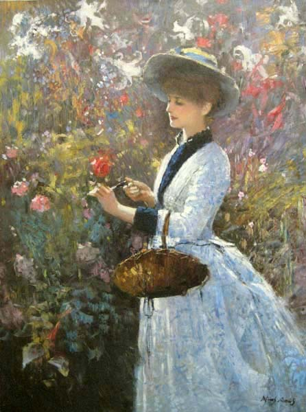 An He Hans Amis Woman with Basket painting of woman in hat picking flowers