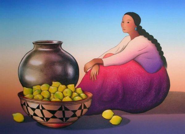 R.C. Gorman - Woman with Lemons print of navajo woman next to a basket of lemons
