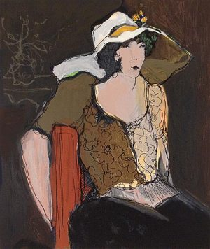 Itzchak Tarkay - Woman with White Hat print of seated woman wearing a hat