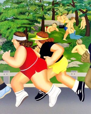 Beryl Cook - Women Running print of joggers in a park with sunbathers