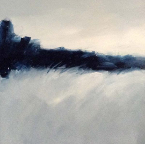 Danielle Mick Square Oil Painting on Canvas of Blue and Gray Snow Landscape