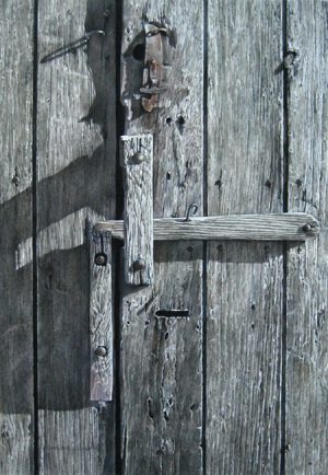 Close-up drawing of a wood latch on a barn door