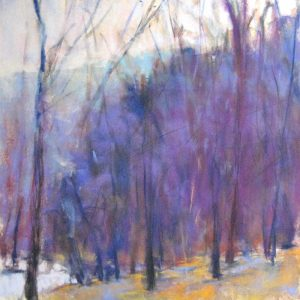 Ken Elliot Giclee of Purple Tree Forest with Green Grass on Paper
