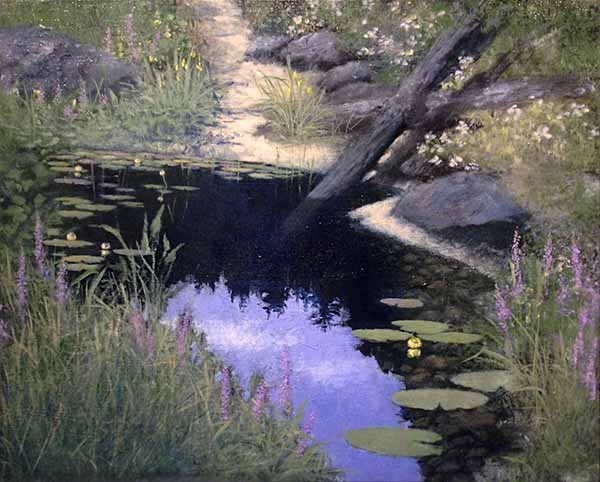 Woodland Pool in Spring painting of stream with lavender and lily pads and tree branch