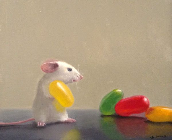 Stuart Dunkel Whimsical Oil Painting on Board of Mouse with Colorful Jellybeans
