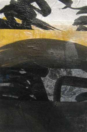 Tsuzawa Black and Yellow Abstract Monoprint on Paper