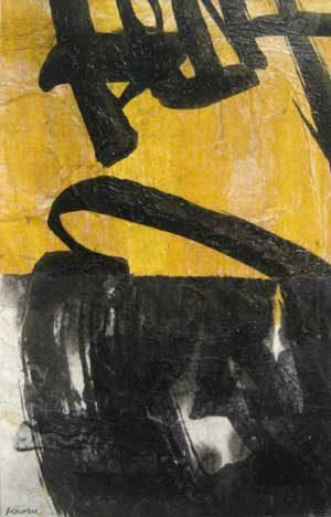 Tsuzawa Yellow and Black Abstract on Paper