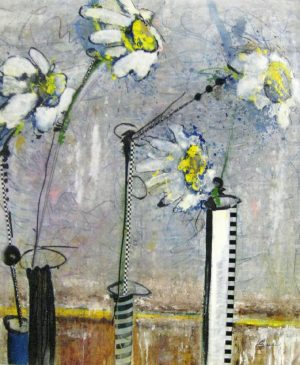 Helen Zarin Yellow Flowers Contemporary Still-life Painting on Canvas with White and Yellow Daisies