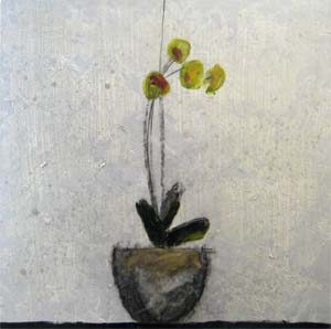 David Jackson Oil Painting of Yellow Flowers in Pot on Table