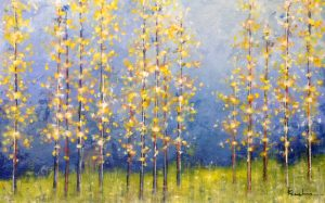 Jeff Koehn Contemporary Oil Painting on Canvas of Birch Aspen Tree Forest Colorado New England