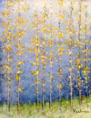 Jeff Koehn Contemporary Oil Painting of Yellow Tree Aspen Birch Glade in Forest with Blue Green
