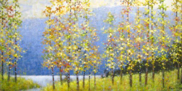Jeff Koehn Contemporary Landscape of Yellow Aspen Trees in Colorado