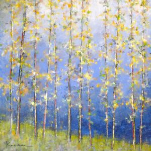 Jeff Koehn Oil Painting of Yellow Aspen Trees in Mountains of Colorado