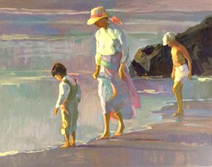 Don Hatfield - Yesterday's Memories print of a woman and two young boys walking along the water's edge