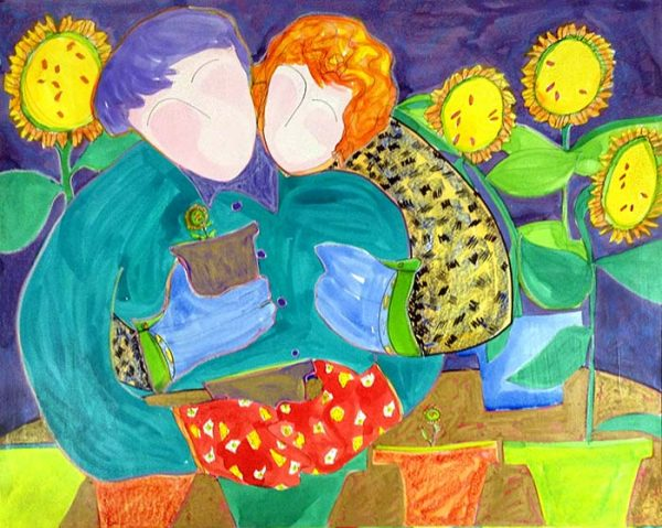 Katherine Porter - Your Energy is Good painting of woman hugging man while planting flowers