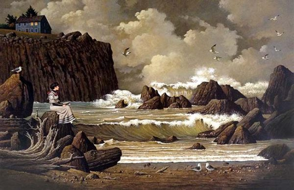 Charles Wysocki - You've Been So Long at Sea, Horatio: Woman looking out on stormy ocean with waves crashing