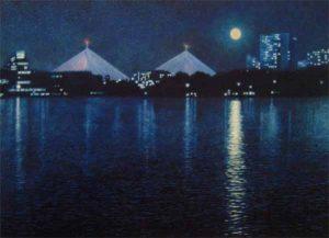 Richard Brady giclee of boston zakim bridge at night
