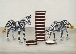 Patti Zeigler - Zebras & Tall Stack - Painting of small zebras next to a stack of cookies