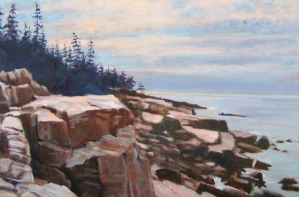 Peter Barnett Granite Block rock and tree coastal painting (24x36 oil on canvas)