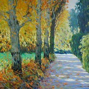 Sunlit Walkway (32x32 oil on canvas)