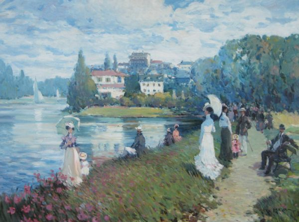 Omar Hamdi Malva - impressionist Painting of people taking a walk by a lake