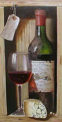 Raymond Campbell 1970 Grand Poujeaux Wine and Cheese (15x8 oil on panel)
