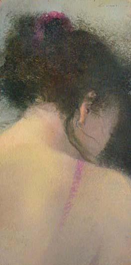 Renzo Crociara - Testina (16x8 oil painting on board)