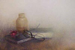 Renzo Crociara - Still life with Glasses (16x20 oil painting on board)