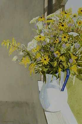 Gary Akers watercolor painting of Bouquet of yellow flowers
