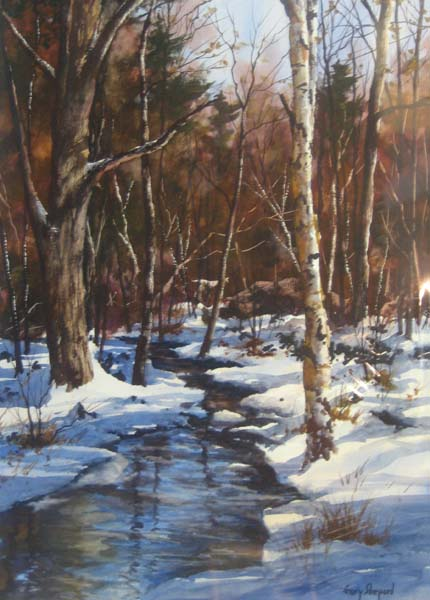 Gary Shepard - Winter Brook watercolor of New England stream in snow