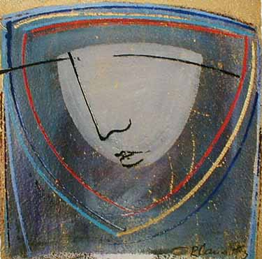 Orlando Agudelo Botero - Estratos (35x35 embellished serigraph) abstract painting of face with an expressionist simplicity in blue and gray
