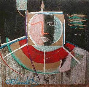 Orlando Botero Light (50x50 embellished serigraph) abstract expressionist painting of a figure with geometric color