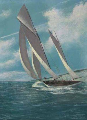 Scott Duncan Single Schooner (16x12 oil on canvas)