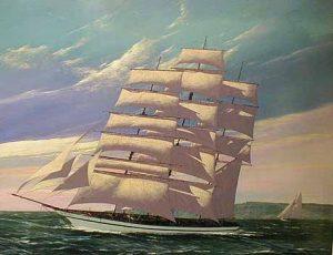Scott Duncan Tall Ship - Full Sail (30x40 oil on canvas)