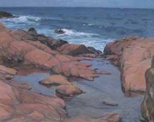 Hilary Baldwin A traditional painting of Bass Rocks a rocky ocean coast line with waves
