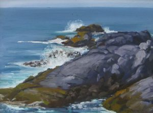 Hilary Baldwin A traditional realistic painting of a rocky coast line with waves crashing